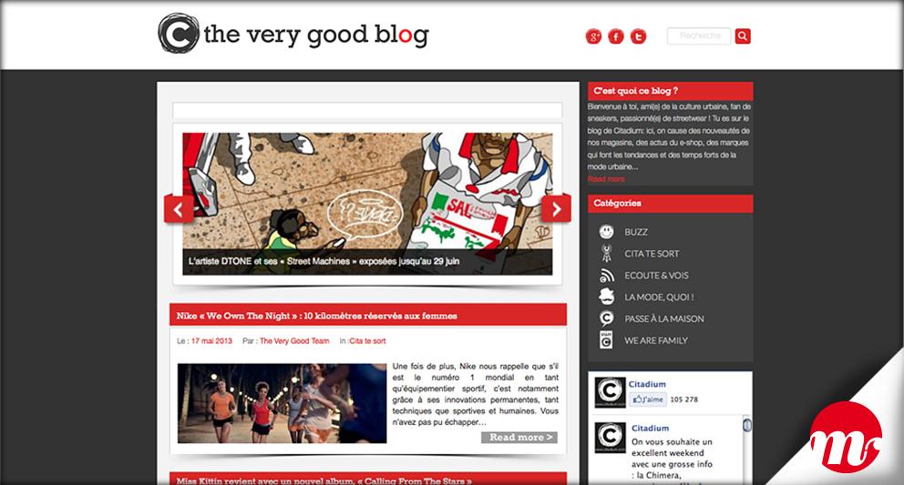 web design et intégration de la charte graphique au blog des boutiques Citadium