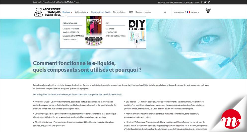 web design du e-commerce pour l'unique fabricant français de e-liquide