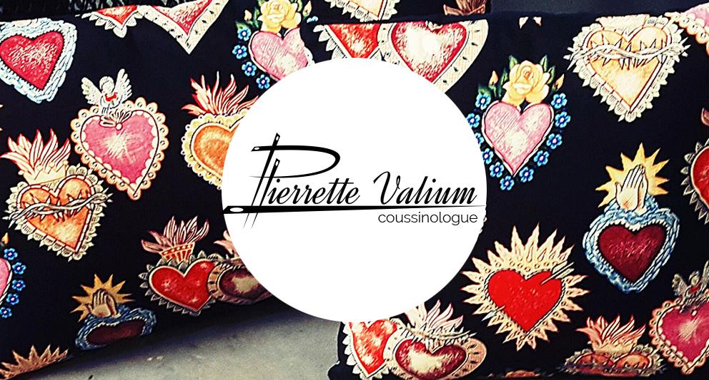 Site web et logo pour Pierrette Valium, coussinologue