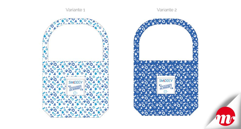 identité visuelle SMIDDEV, sacs de collecte pour le papier