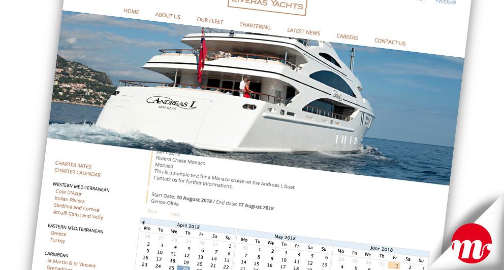 liveras yachts web design charter-calendar
